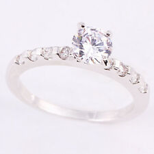 Size 5.5~9 Jewelry Woman's 1.8CT White Sapphire 10KT White Gold Filled Ring