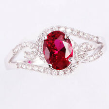 Size 6~9 Jewelry Woman's 2CT Red Ruby 10KT White Gold Filled Ring