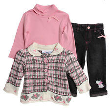 BT Kids Baby Girls' 3 Piece Pink Plaid Knit Sweater Turtleneck Jeans Set