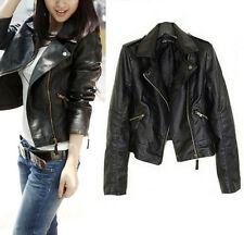 Leather Women Black Soft Zipper Jacket Biker Motorcycle Short Slim Coat Size6-22