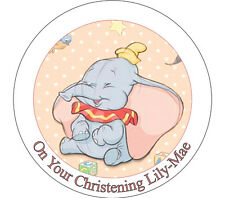 """Baby Dumbo Personalised 7.5"""" Icing or Ricepaper Cake Topper"""