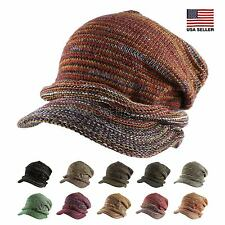 Multi Color Slouchy Metallic Knit Beanie Cap Brim Warm Ski Women Fall Winter Hat