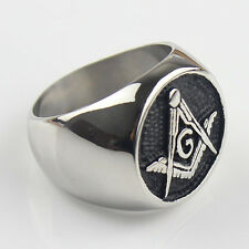 Mens Black Embossed Stamped Freemason Masonic Stainless Steel Ring New
