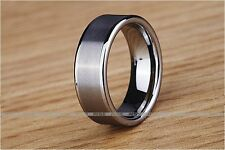 New Gift Men Women Tungsten Silver tune Frosted face Ring 8mm wedding band A14