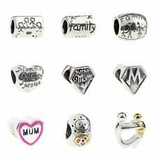 925 Sterling Silver Charm Love Mom Bead Fit 3mm European Bracelet
