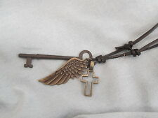 Mens ANTIQUE SKELETON KEY with WING & CROSS on BROWN LEATHER Adjustable Necklace