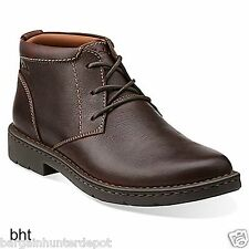 New Clarks Men's STRATTON LIMIT Brown Leather Chukka Boot 26102528