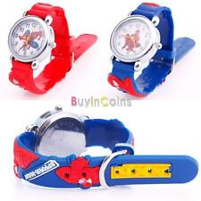 Hot Blue Cartoon Analog Quartz Wrist Watch Rubber Leather For Child Boys Gift