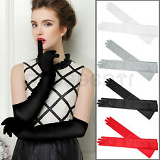 Ladies Satin Evening Party Wedding Bride Dress Long Finger Gloves Red Black UK