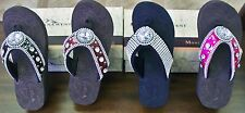 Summer Fun NWT Montana West Blinged Out Brown/Burgundy/Diamond Flip Flops Sexy!