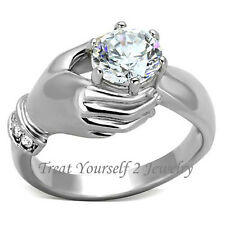 CZ Hand Ring Stainless Steel AAA CZ Silver Tone Size 5-10 Free Shipping