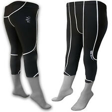LADIES 3/4 Tights Running Gym Fitness Capri Tights Compression Trousers Black