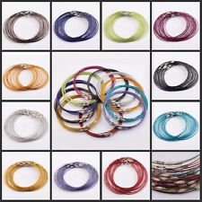 10/100Pcs 1mm Nice Wire Cable Steel Chain Stainless Charms Cords Necklace 45cm