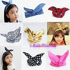 Girls Baby Kids Wire Ear Bow Adjustable Party fashion Headband Hair band Bandana