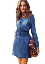 Women's Crew Neck Slim Denim Jean Long Sleeve Trench Coat Vogue Dresses Jacket