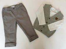 Baby boy Grey 3 piece set, trousers, top and knitted waistcoat, Ages 1 & 2 yrs