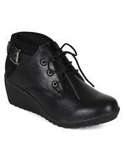 New Women Pierre Dumas Donata-3 Leatherette Lace Up Buckle Oxford Wedge Bootie