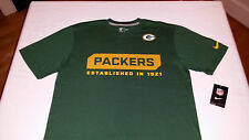 NEW Nike Mens Green Bay Packers 100% Cotton T Shirt 5 Sizes $28 MSRP 537656 323