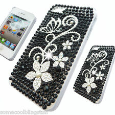 NEW BLING DELUX DIAMANTE STYLISH BLACK FLOWER CASE COVER 4 IPHONE 3 4 4S 5 5S 5C