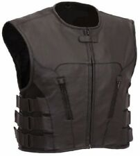 Motorcycle Swat Leather Vest Motorbike Biker Rider Scooter Security Vest