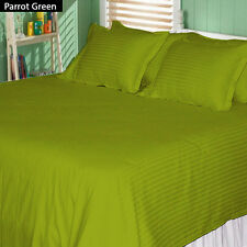 Canadian Bedding Items)- PARROT GREEN SOLID&STRIPE 1000TC 100%EGYPTIAN COTTON