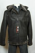 Brown B3 Men 100% Sheepskin Shearling Leather Bomber Aviator Flight Jacket S-8XL