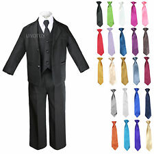 6pc Baby Toddler Formal Wedding Black Tuxedos Boys Suits 23 Color Necktie S-4T