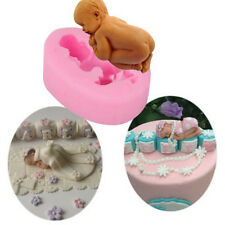 Silicone Fondant Cup-Cake Decorating 3D Sleeping Baby Cutter Soap Mold Tool Cute