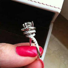 2CT New Vintage White Gold Finish Sterling Silver Diamond Women Engagement Ring