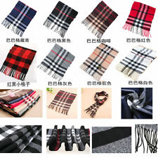 Mens Womens Unisex Warm Cashmere Plaids Striped Scarf Tassels Scarves Gifts