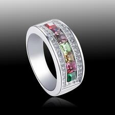 New Band Peridot Kunzite Garnet Wedding S80 Silver Ring Size 6 7 8 9 10