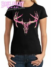 PINK CAMO DEER SKULL LADIES Junior T-Shirt Deer Hunter ~ Camouflage Buck