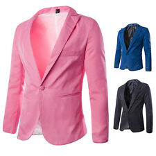 New Men One Button Slim Fit Casual Business Blazer Jacket Coat Outwear