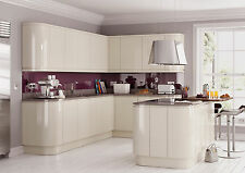 High Gloss Cream Lacquered Handleless Kitchens - Guaranteed Best Price on Ebay!