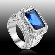 Wedding Party Jewelry Blue Sapphire Quartz Gemstone S80 Silver Ring size 7 8 9