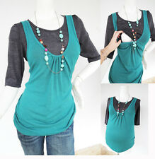 JANE HS Maternity Nursing Clothing Breastfeeding Top GreenGry Nursing Shirts NEW