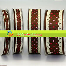 Bluk 100Yards/roll Grosgrain Ribbon Printed Lace Dots For DiY Crafts Bows