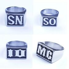 Men's Stainless Steel The Initial Letter Harley Biker Ring Size 7-15 US HS19
