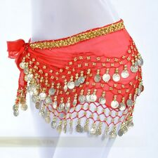 6 Colors Belly Dance Hip Skirt Scarf Wrap Belt Hip scarf Gold sequins Coins
