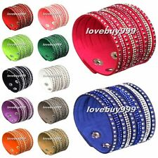 New Fashion Leather Wrap Wristband Cuff Punk Crystal Rhinestone Bracelet Bangle