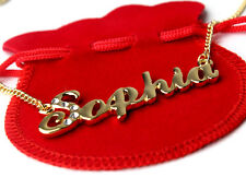 Name Necklace SOPHIA Gold Plated Personalized Gifts Swarovski Birthday Jewelry