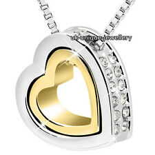 Love Heart Crystal Diamond Necklace Gold Silver Valentines Present Gifts For Her