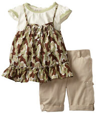 Young Hearts Little Girls' 2 Piece Camo Summer Top Khaki Capri Pants Set