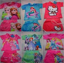 Girls Swim Sun Suit 2 Piece Character T Shirt Swimming Shorts Costume Summer Age