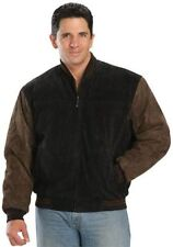USA Leather Mens Dark Brown Black Winter Bomber Suede Leather Jacket (S-5XL)