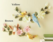 Elegant Yellow Blue 3D Birds & Pink Flowers Wall Hanging Floral Leaves Wall Art