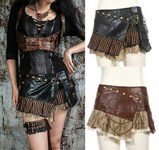Gothic Steampunk RQ BL Skirt Short Black Brown Synthetic Leather Mini Visual
