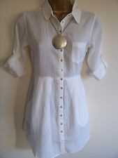WHITE STUFF WHITE COTTON SUMMER TUNIC TOP / SHIRT/BLOUSE sz8,10,12,14,16,18