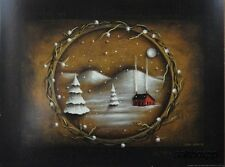 "JON239 First Snowfall John Sliney 12""x16"" framed or unframed print primitive"