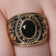 US Seller 18K Gold plated Stainless Steel Black CZ Army's Ring Size 9-12 SR156